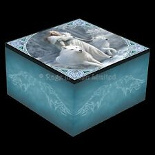 *WINTER GUARDIANS* Goth Wolf Art Trinket Box With Mirror By Anne Stokes