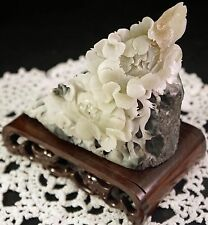 Chinese Natural Dushan Jade Handwork Carving Lotus Flower Statue & Stand