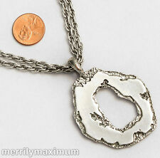 Chico's Signed Necklace Silver Tone Double Chains Organic Ring Pendant