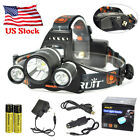 Rechargeable 10000lm Headlamp 3XXM-L2 LED USB Headlight Torch 2x18650 Battery US