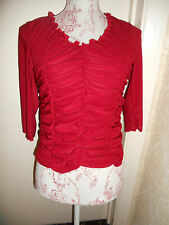Red rouched romantic cropped top with 3/4 sleeves 8 10 gypsy boho crop fitted