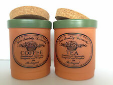 Casa Verde, Terra Cotta Tableware, Coffee & Tea Cannisters, excellent (460)