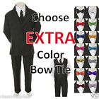 New Kids Teen Boy Black Formal Wedding Party Suit Tuxedo + Color Bow Tie sz 8-20