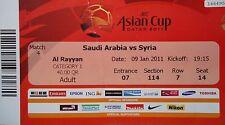 TICKET AFC Asian Cup Qatar 2011 Saudi Arabia - Syria Match 4
