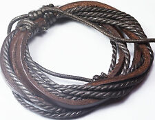 Brown Leather Rope Bracelet for Men and Women