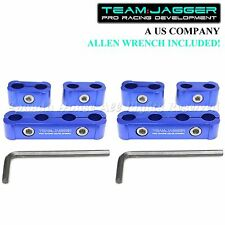 FOR CHEVY ONLY! 6PC JDM STYLE ANODIZED ALUMINUM SPARK PLUG WIRE SEPARATORS BLUE