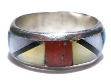 SOUTHWESTERN STERLING SILVER TURQUOISE CORAL ONYX OLD ESTATE RING BAND SIZE 7.5