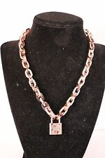 Michael Kors MKJ4344791 Padlock Toggle Heritage Necklace - Rose Gold/Tortoise
