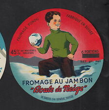Ancienne étiquettes Fromage Suisse BN10204 Fromage Jambon Boule de neige Homme