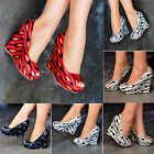 Ladies Sequin peep toe Wedges Abstract Metallic Party Shoes High heels WM22-55