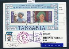 66637) LH FF Frankfurt - Phoenix USA 25.3.2001, card Tanzania Block Queen Mom