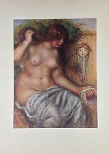 """1952 Vintage Full Color Art Plate """"WOMAN AT THE FOUNTAIN"""" RENOIR Lithograph"""