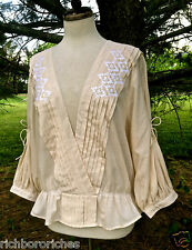 NWOT $128 Free People ivory NR Crazy Little Thing Top embroidery peplum  M