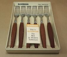 Vintage Glosswood Table Forks Teak Stainless Steel Boxed Mid Century Ex Cond