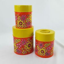 Vtg Counterpoint Bright Floral Nesting Storage Tin Canisters Orange Yellow Japan