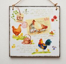 Decorative Vintage plaque/picture farmhouse chicken,eggs,hens,rooster