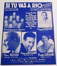Partition sheet music DARIO MORENO : Si tu Vas à Rio * 50's TINO ROSSI