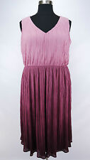 PRETTY LANE BRYANT PLUS SIZE PINK PURPLE SLEEVELESS PLEATED LINED DRESS Sz 24