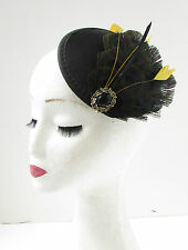 Black Gold Feather Fascinator Headpiece Hair Clip Races Vintage 1920s Hat 9AJ