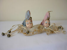 Pair of vintage porcelain and lace jester dolls heads pin cushions