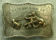 Vtg Diablo Sterling Silver Calf Roping Rodeo Cowboy Trophy Western Belt Buckle