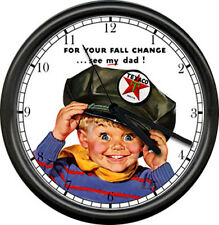 Texaco Gas Service Station Attendant Hat Retro Vintage Boy Pump Sign Wall Clock