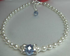 "Handmade  Something Blue Bridal Crystal Rhinestone White Pearl 9"" Anklet"