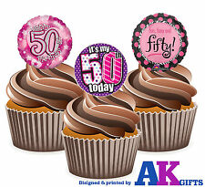 12 X Happy 50th Birthday Ladies Pink Balloon Mix EDIBLE CAKE TOPPERS STAND UPS