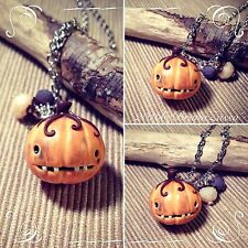 Collana Zucca ~ Cute Creepy Pumpkin Necklace Fimo Polymer Clay Kawaii Halloween