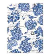 INDIGO Cotton Kitchen Towel by  Michel Design Works - Bird, Blue Flowers,
