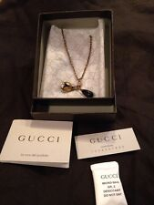 "New Authentic Gucci Womans Necklace Crystals Bronze Black Drop 37"" Gucci Bag"