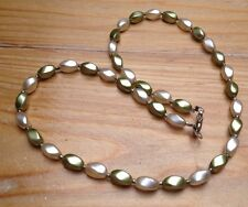 Cream & Green Vintage Necklace/Faux Pearl Oval Beads/60's Retro/Kitsch