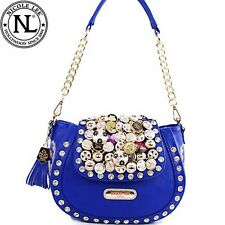 NICOLE LEE IRRESISRABLE BUTTONS & STUDS CROSSBODY MESSENGER HANDBAG