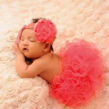 Newborn Headdress flower+Tutu Clothes Skirt Baby Girl Photo Prop Outfits Red HOT