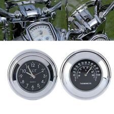 7/8'' 1'' Motorcycle Bike Handlebar Mount  Dial Clock with Thermometer Aluminum