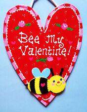 VALENTINE'S DAY SIGN Heart Bumblebee Decor Wall Art Plaque Door Hanger Hanging
