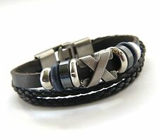 Urban Vintage style Genuine Black Leather  Bracelet & Antiqued Silver X Pendant
