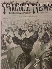 VINTAGE NEWSPAPER HEADLINES~CRIME LIZZIE BORDEN COURT TRIAL VERDICT NOT GUILTY~