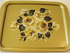 """Vtg Tole Paint Roses Gold Metal NOS Advertising TRAY(s) DUFFYS 12 3/4""""x17 1/4"""""""