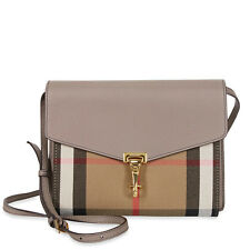 Burberry Small Leather and House Check Crossbody - Thistle Grey