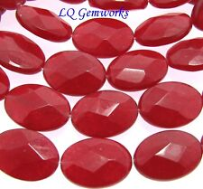 """15.5"""" Strand RUBY RED JADE 13x18mm Faceted Oval Beads BOGO"""