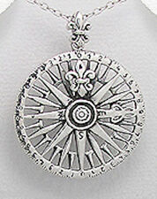"""BIG 40mm (1.57"""") Solid 8.58g Sterling Silver Compass Pendant BEAUTIFUL"""