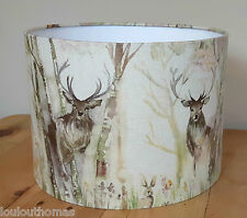 Handmade STAG Voyage ENCHANTED FOREST fabric drum pendant lampshade 30cm shade