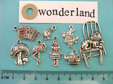 8 tibetan silver Alice in Wonderland charms Alice cards rabbit Cheshire cat