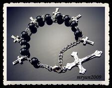 "FREE Prayer Rosary INRI Black acrylic beads cross pendant Beaded Bracelets 10"""