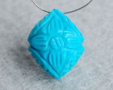 Stabilized Tibetan Turquoise Carved Briolette Bead Focal Point Pendant