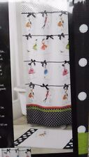 AVANTI COUTURE GIRLS FABRIC SHOWER CURTAIN NEW! RED BLACK LIME GREEN 72 X 72