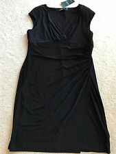 NEW NWT LAUREN Ralph black cocktail dress sleeveless stretchy 16 XL XLARGE