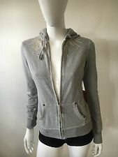 NWT WOMENS GREY TRUE RELIGION BRAND GOLD RAYS FULL ZIP HOODIE SIZE XS