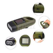 3LED Hand Crank Solar Power Dynamo Carabiner Rechargeable Flashlight for Camping